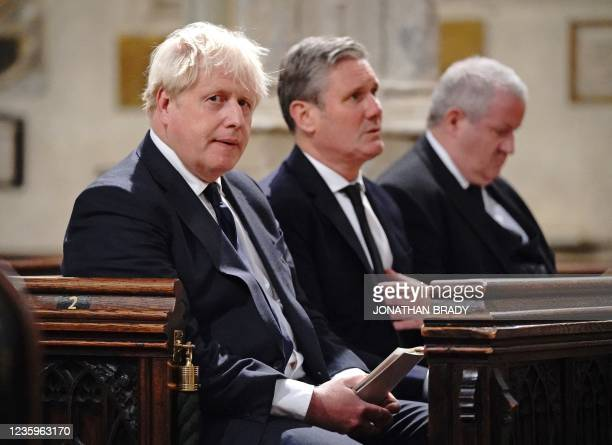 Britain's Prime Minister Boris Johnson Britain's main opposition Labour Party leader Keir Starmer and Scottish National Party Westminster leader Ian...