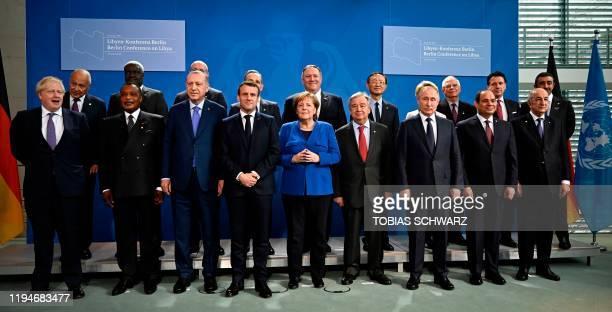 Britain's Prime Minister Boris Johnson Congolese President Denis Sassou Nguesso Turkish President Recep Tayyip Erdogan French President Emmanuel...