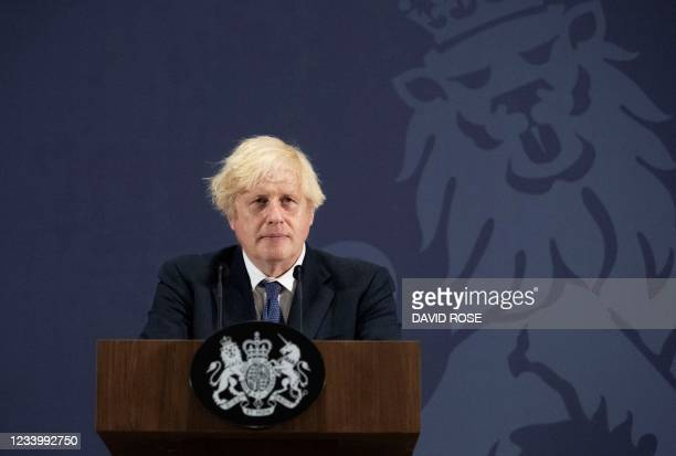 """Britain's Prime Minister Boris Johnson delivers a speech on """"levelling up"""" in the regions during a visit to the UK Battery Industrialisation Centre..."""