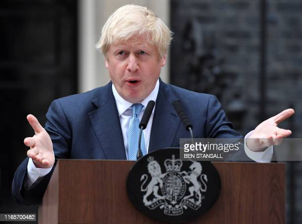 Britain's Prime Minister Boris Johnson delivers a statement outside 10 Downing Street in central London on September 2 2019 Prime Minister Boris...