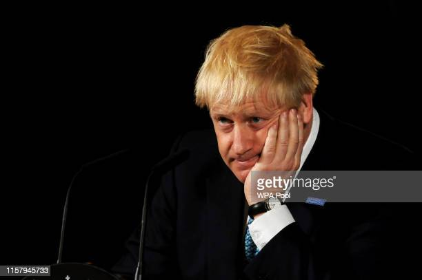 Britain's Prime Minister Boris Johnson during a speech on domestic priorities at the Science and Industry Museumon July 27, 2019 in Manchester,...