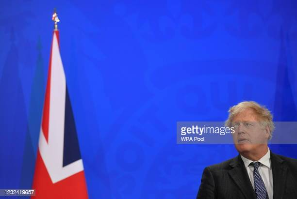 Britain's Prime Minister Boris Johnson holds a news conference amid the coronavirus disease pandemic at Downing Street on April 20, 2021 in London,...