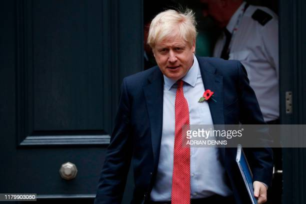 Britain's Prime Minister Boris Johnson leaves the Conservative Party headquarters in London on November 4 2019 British MPs will select the new...