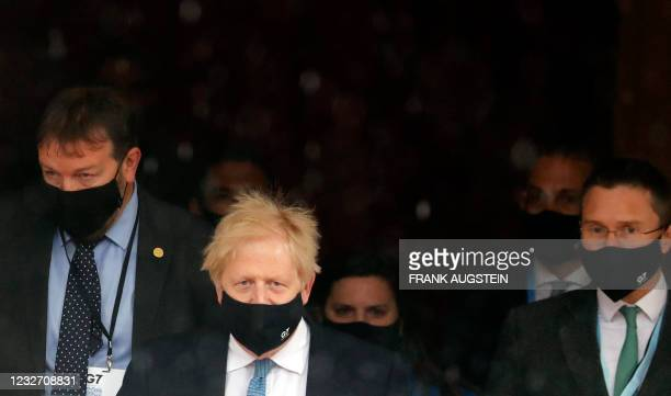 Britain's Prime Minister Boris Johnson leaves the G7 foreign ministers meeting in London on May 5, 2021. - G7 foreign ministers meet in London for...