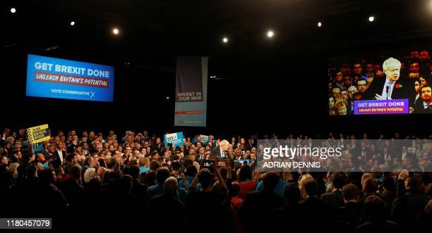 Britain's Prime Minister Boris Johnson speaks at the Conservative Party's General Election campaign launch, at the National Exhibition Centre in...