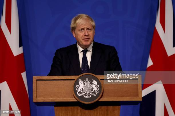Britain's Prime Minister Boris Johnson speaks during a media briefing on the latest Covid-19 update, at Downing Street, central London on September...