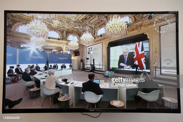 Britain's Prime Minister Boris Johnson speaks during a video conference at the One Planet Summit, part of World Nature Day, at the Reception Room of...