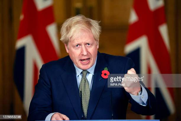 Britain's Prime Minister Boris Johnson speaks during a virtual press conference on the coronavirus pandemic in the UK inside 10 Downing Street on...