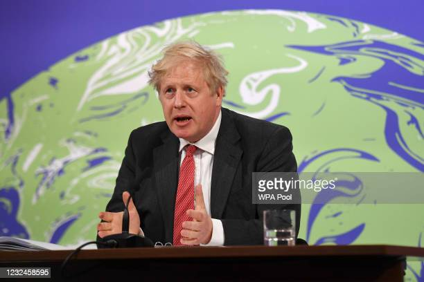 Britain's Prime Minister Boris Johnson speaks during the opening session of the virtual US Leaders Summit on Climate from the Downing Street Briefing...