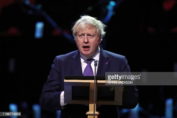 Britain's Prime Minister Boris Johnson speaks during the UK Holocaust Memorial Day Commemorative Ceremony at Methodist Central Hall in London on...