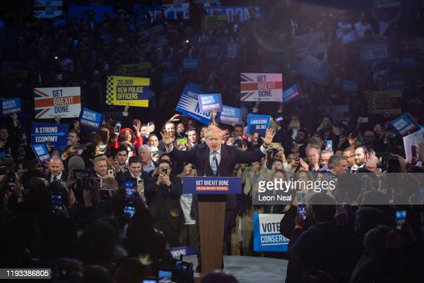 Britain's Prime Minister Boris Johnson speaks to supporters at the Copper Box Arena on December 11 2019 in London United Kingdom Boris Johnson spent...
