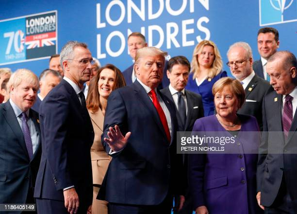 Britain's Prime Minister Boris Johnson US President Donald Trump German Chancellor Angela Merkel Turkey's President Recep Tayyip Erdogan and other...