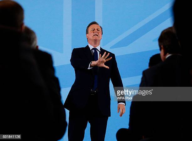 Britain's Prime Minister David Cameron addresses members of a World Economic Forum event focusing on Britain's EU referendum on May 17 2016 in London...