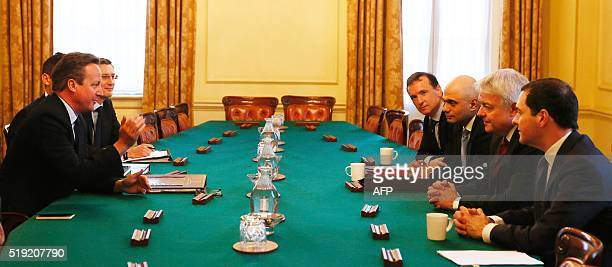 Britain's Prime Minister David Cameron chairs a meeting about Tata Steel's British assets attended by British Wales Secretary Alun Cairns Business...