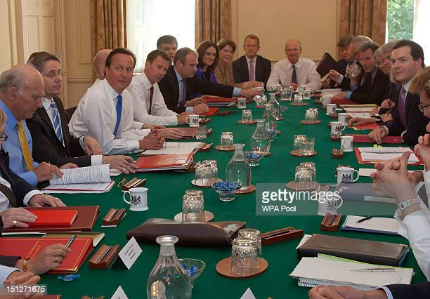 Britain's Prime Minister David Cameron chairs the first cabinet meeting following a ministerial reshuffle in Downing Street on September 5 2012 in...