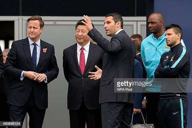 Britain's Prime Minister David Cameron China's President Xi Jinping Manchester City chairman Khaldoon Al Mubarak head of the Elite Development...