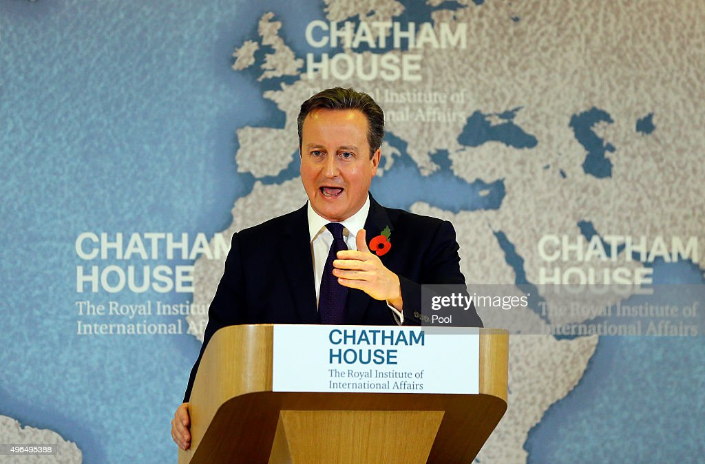 Britain's Prime Minister David Cameron delivers a speech on EU reform and the UKs renegotiation at Chatham House on November 10, 2015 in London, England. Cameron on Tuesday formally launched his bid to renegotiate Britain's membership within the European Union, setting out four key demands for EU reform.