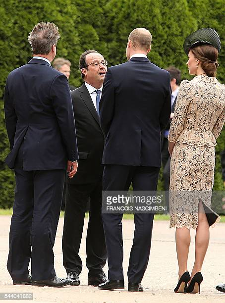 Britain's Prime Minister David Cameron French President Francois Hollande Britain's Prince William and his wife Britain's Princess Catherine discuss...