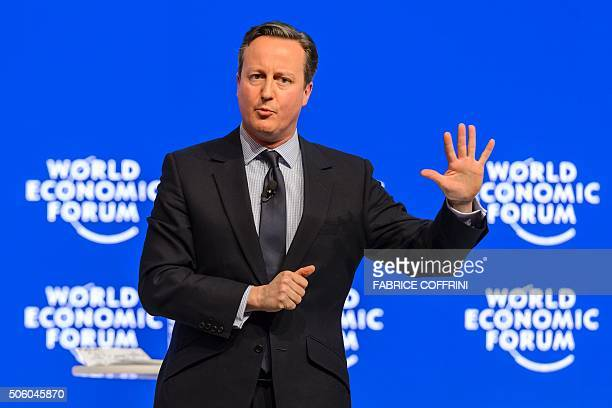 Britain's Prime Minister David Cameron gestures during a session at the World Economic Forum annual meeting in Davos on January 21 2016 Rising risks...