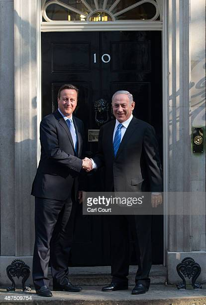 Britain's Prime Minister David Cameron greets Israeli Prime Minister Benjamin Netanyahu in Downing Street on September 10, 2015 in London, England....