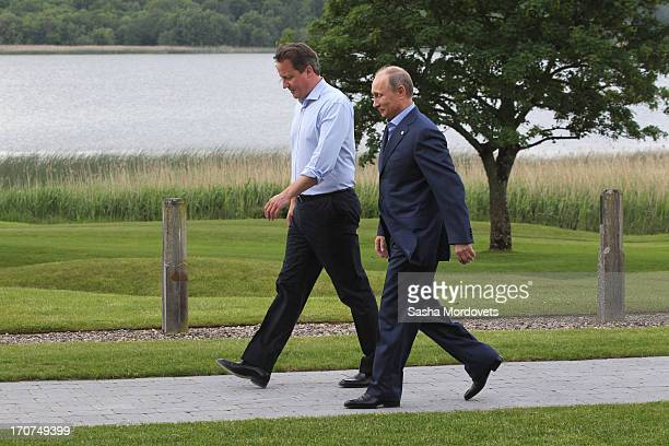 Britain's Prime Minister David Cameron greets Russian President Vladimir Putin as he officially arrives at the G8 venue of Lough Erne on June 17 2013...