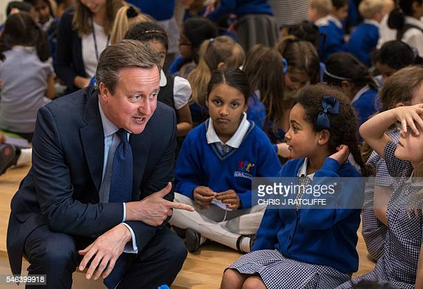 Britain's Prime Minister David Cameron is pictured during a visit to Reach Academy Feltham in south west London on July 12 2016 David Cameron chaired...