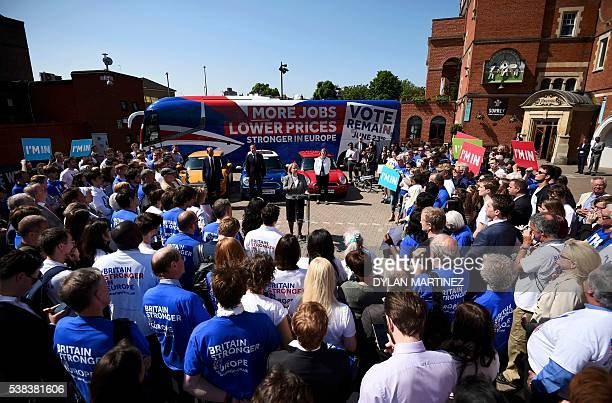 Britain's Prime Minister David Cameron Liberal Democrat leader Tim Farron and Labour MP Harriet Harman and activists listen to Green Party leader...
