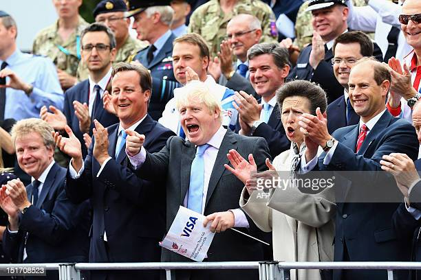 Britain's Prime Minister David Cameron Mayor of London Boris Johnson Princess Anne Princess Royal and Prince Edward Earl of Wessex applaud during a...