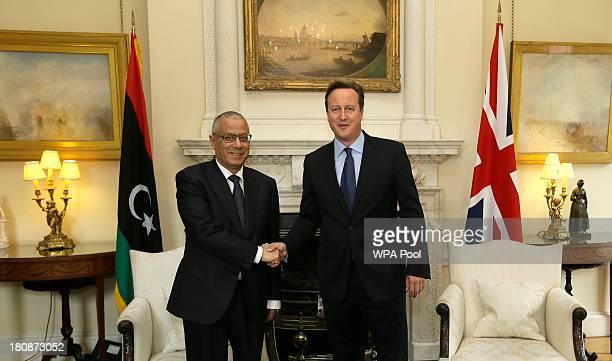 Britain's Prime Minister David Cameron meets Libya's Prime Minister Ali Zeidan inside 10 Downing Street on September 17, 2013 in London, England.