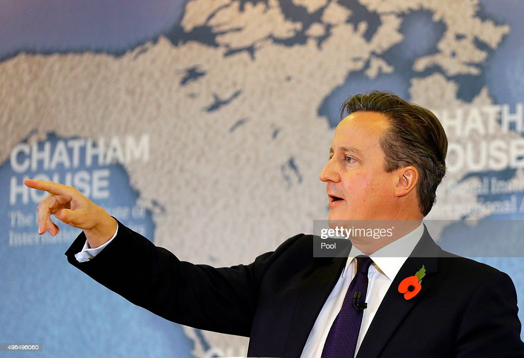 Britain's Prime Minister David Cameron points during a question and answer session after he delivers a speech on EU reform and the UKs renegotiation at Chatham House on November 10, 2015 in London, England. Cameron on Tuesday formally launched his bid to renegotiate Britain's membership within the European Union, setting out four key demands for EU reform.
