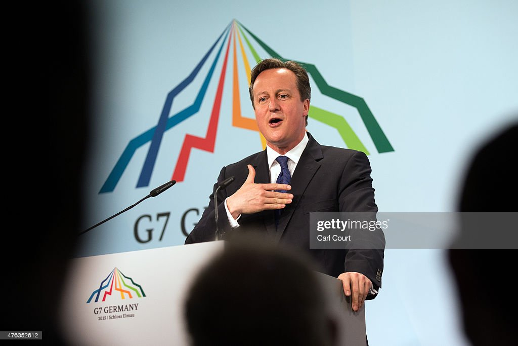 Britain's Prime Minister David Cameron speaks at a press conference at the end of the summit of G7 nations at Schloss Elmau on June 8, 2015 near Garmisch-Partenkirchen, Germany. In the course of the two-day summit G7 leaders are scheduled to discuss global economic and security issues, as well as pressing global health-related issues, including antibiotics-resistant bacteria and Ebola. Several thousand protesters have announced they will seek to march towards Schloss Elmau and at least 17,000 police are on hand to provide security.
