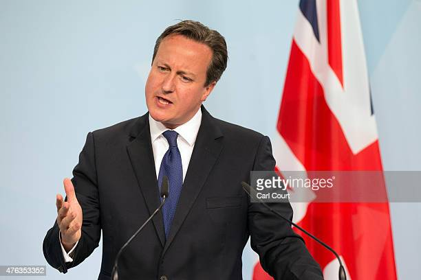 Britain's Prime Minister David Cameron speaks at a press conference at the end of the summit of G7 nations at Schloss Elmau on June 8 2015 near...