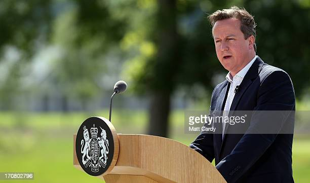 Britain's Prime Minister David Cameron speaks to the media at a concluding press conference at the G8 venue of Lough Erne on June 18 2013 in...