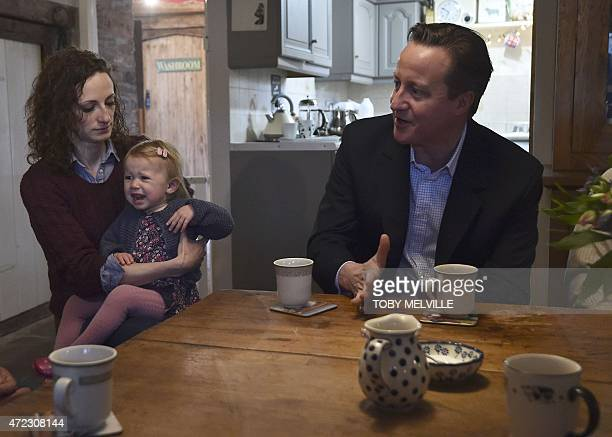 Britain's Prime Minister David Cameron speaks with local members of the farming community during a campaign visit at Whole House Farm near Brecon in...