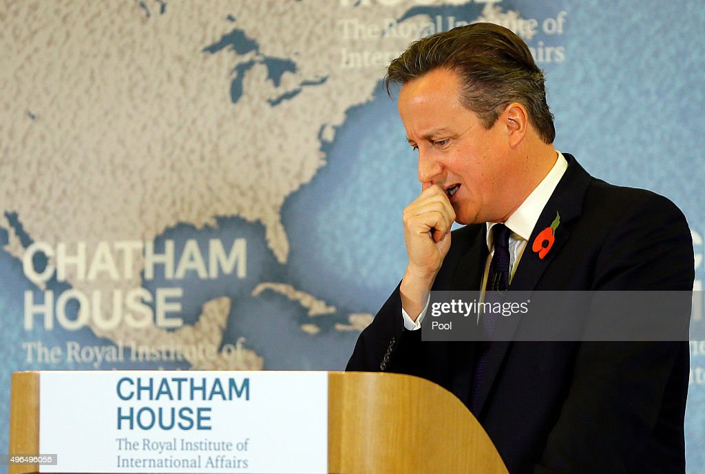 Britain's Prime Minister David Cameron thinks during a question and answer session after he delivers a speech on EU reform and the UKs renegotiation at Chatham House on November 10, 2015 in London, England. Cameron on Tuesday formally launched his bid to renegotiate Britain's membership within the European Union, setting out four key demands for EU reform.