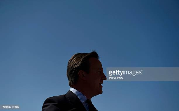 Britain's Prime Minister David Cameron watches Green Party leader Natalie Bennett speaks at a Remain in the EU campaign event at the Oval cricket...