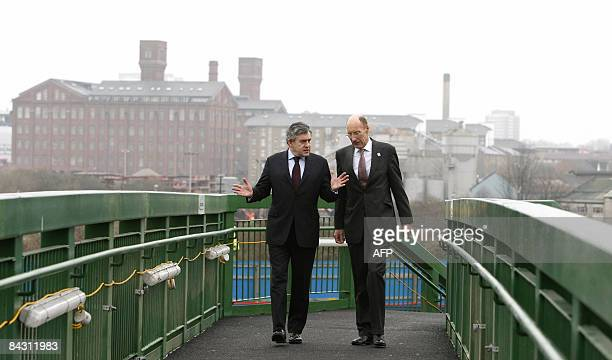 Britain's Prime Minister Gordon Brown and John Armitt Chairman of the Olympic Delivery Authority are pictured during a visit to the 2012 Olympic Park...
