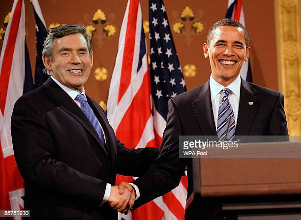 Britain's Prime Minister Gordon Brown and US President Barack Obama attend a press conference at the Foreign and Commonwealth Office on April 1 2009...
