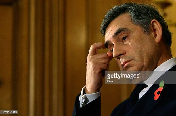 Britain's Prime Minister, Gordon Brown gestures during his monthly news conference at 10 Downing Street on November 10, 2009 in London, England....