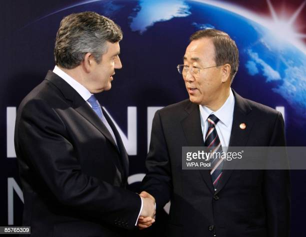 Britain's Prime Minister Gordon Brown greets UN SecretaryGeneral Ban Kimoon upon his arrival at the G20 summit at the ExCel centre on April 2 2009 in...