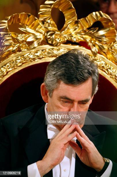Britain's Prime Minister Gordon Brown prepares to deliver his keynote speech at the Lord Mayor's Banquet at Guildhall in central London, 12 November...