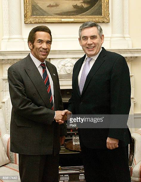 Britain's Prime Minister Gordon Brown shakes hands with the President of Botswana Seretse Khama Ian Khama ahead of a meeting at 10 Downing Street on...