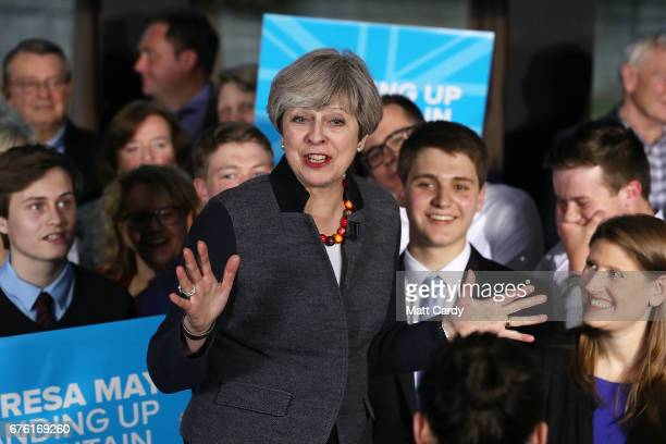 Britain's Prime Minister Theresa May addresses an audience of supporters during a campaign stop on May 2 2017 in Bristol England The Prime Minister...
