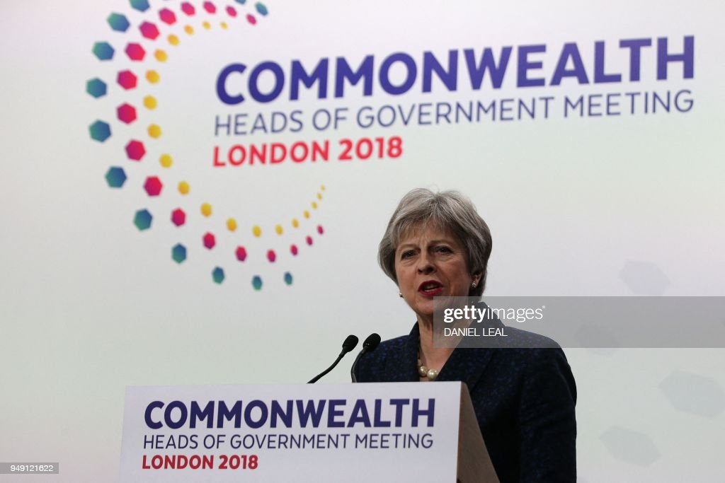 Britain's Prime Minister Theresa May addresses the closing press conference of the Commonwealth Heads of Government Meeting (CHOGM), at Marlborough House in London on April 20, 2018.