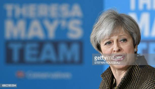 Britain's Prime Minister Theresa May addresses the Conservative party's general election candidates from London and the southeast during a campaign...