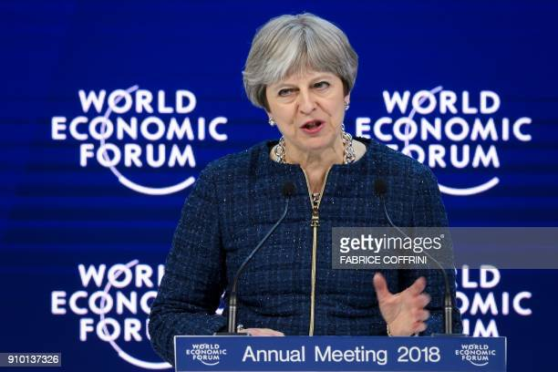 Britain's Prime Minister Theresa May addresses the Economic Forum annual meeting on January 25 2018 in Davos eastern Switzerland / AFP PHOTO /...