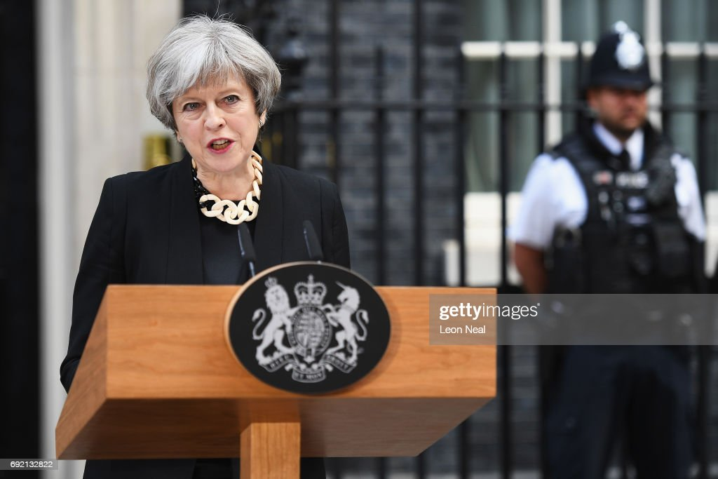 British Prime Minister Theresa May Responds To The London Bridge Terror Attacks : News Photo