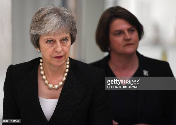 Britain's Prime Minister Theresa May and Arlene Foster leader of the Democratic Unionist Party visit Belleek Pottery in Belleek Northern Ireland on...