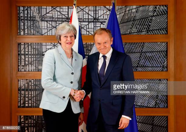 Britain's Prime Minister Theresa May and European Council President Donald Tusk attend a bilateral meeting during the Eastern Partnership summit at...
