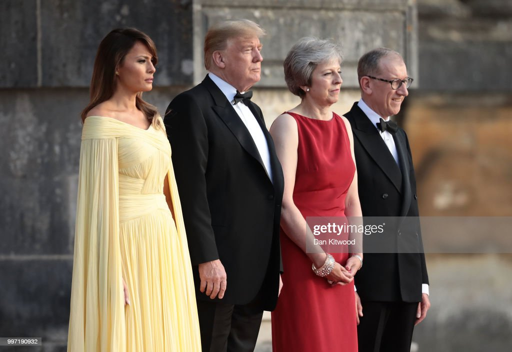 Britain's Prime Minister Theresa May and her husband Philip May greet U.S. President Donald Trump, First Lady Melania Trump at Blenheim Palace on July 12, 2018 in Woodstock, England. Blenheim Palace is the birth place of the great wartime British Prime Minister, Winston Churchill, of whom the President is a big fan. The Prime Minister hosted dinner for the President and First Lady and business leaders as part of the First Couple's official visit to the UK.